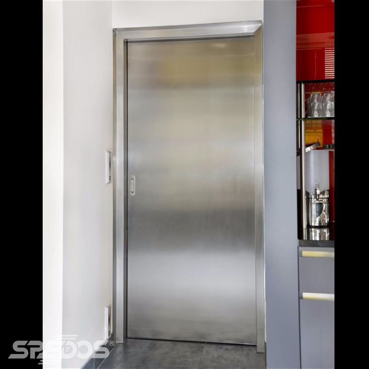 jednokřídlé automatické dvere posuvné v nerezu