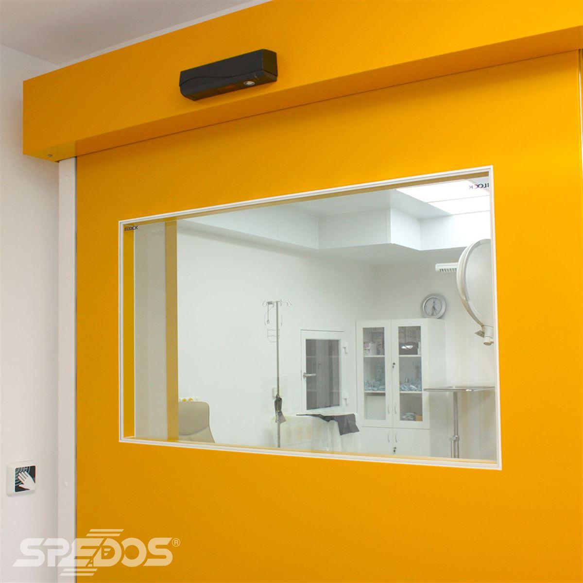 Jednokřídlé automatické dveře žluté