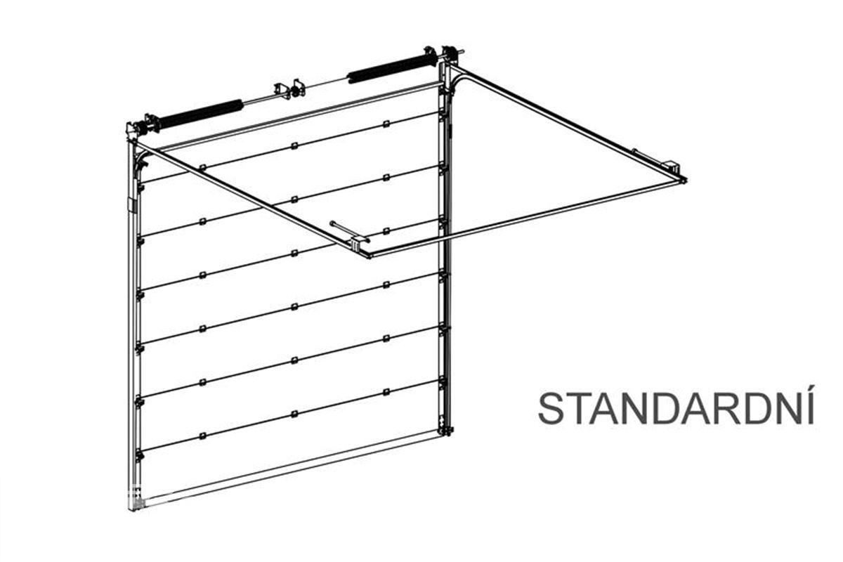 standardní kolejnice na sekční vrata